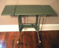 Vintage  Industrial Metal Green Typewriter Stand Drop Leaf Table Rollers Toledo