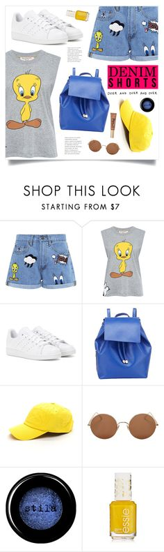 """Over And Over"" by marina-volaric ❤ liked on Polyvore featuring Paul & Joe Sister, adidas, Barneys New York, Sunday Somewhere, Stila, Too Faced Cosmetics, jeanshorts, denimshorts and cutoffs"