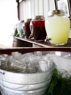 Mason jars for guests' drinks + glass drink dispensers