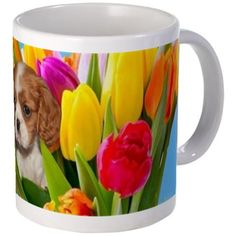 "Easter King Charles Spaniel Mugs  Small measures 3.75"" tall, 3"" diameter; Mega measures 4.5"" tall, 3.75"" diameter  #easter #mug #mugs #dog #king #charles #spaniel #spaniels #drinkware #pet #animal #flowers"