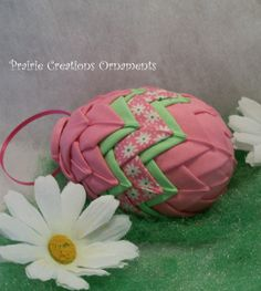 Quilted Ornament Easter Egg Pink and White by MyPrairieCreations