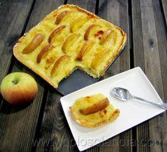 tarta de crema de manzana Fácil receta casera paso a paso  http://www.golosolandia.com/2014/04/tarta-de-crema-de-manzana.html