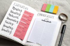 Mit einem Speiseplan und einer Einkaufsliste ist die Wochenplanung leicht gemacht! Finde heraus, wie du beides in dein Bullet Journal integrieren kannst!
