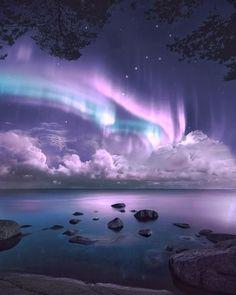 Aurora Borealis in Finland by Landscape Photos, Landscape Photography, Nature Photography, Fantasy Art Landscapes, Beautiful Landscapes, Aurora Borealis, Stars Night, Outdoor Portrait, Northern Lights Iceland