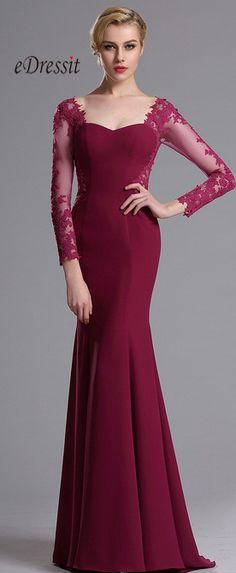 A low sweetheart neckline, fitted bodice, and delicate appliques give this mermaid dress a soft, vintage appeal with a share of elegance. Think elegance, think classy, think streamlined and dressy. If you have the figure for it, there is no dress in the world that can compliment you better.