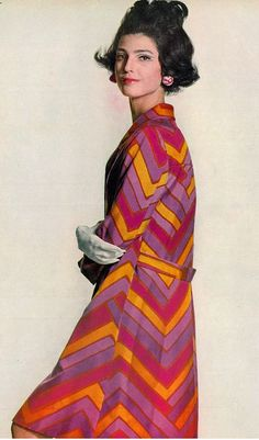 Benedetta is wearing a printed silk coat over matching dress by Oscar De La Renta for Jane Derby, photo by Penn, Vogue US 1967