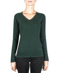 Damen Kaschmir Pullover V-Ausschnitt dunkelgrün front Elegant, Tops, Sweaters, Fashion, Cashmere Sweaters, Women's, Classy, Moda, Chic