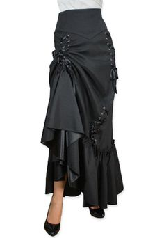 This 3 Way long skirt can be worn down for Victorian styling, up on one side for Gypsy styling or front tied up for vintage burlesque looks. Steampunk Rock, Costume Steampunk, Moda Steampunk, Steampunk Skirt, Victorian Steampunk, Steampunk Clothing, Steampunk Fashion, Victorian Fashion, Gothic Fashion