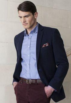 Men's Navy Wool Slim fit Jacket