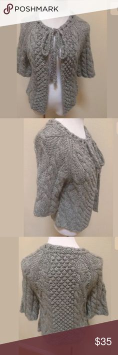 Aphorism Anthropologie Gray Wool Alpaca Sweater Aphorism Anthropologie Gray Wool Alpaca Blend Thick Knit Sweater Cardigan Medium.  Excellent condition! Front Tie. Soft and cozy. Clean and comes from smoke free home. Questions welcomed! Anthropologie Sweaters Cardigans