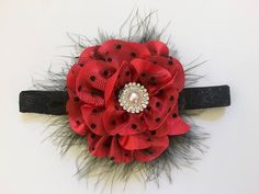 Boutique Holiday Headband, Red Black Pearl Headband or Hair Clip, Flower Girl Clip, Bridal Hair Clip, Red clip, Portrait photo headband