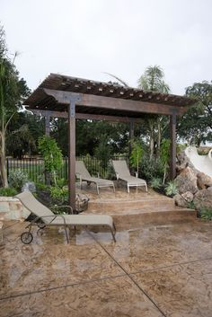 THIS IS THE PERGOLA I WANT!!! WITH THE STAMPED WOOD CONCRETE....GOOD BYE POOL - HELLO RELAXATION