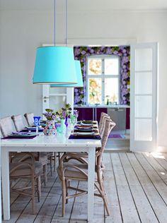 Lovely blue lampshades. Via belle maison