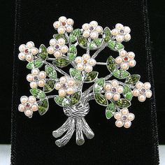 Vintage Floral Bouquet Brooch Pink Seed Pearls Green by KatsCache