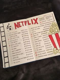 Netflix spread Double spread of your Netflix wish list for t.-Netflix spread Double spread of your Netflix wish list for the bullet journal! Netflix spread Double spread of your Netflix wish list for the bullet journal! Bullet Journal Netflix, Bullet Journal Cleaning Schedule, Bullet Journal Writing, Bullet Journal School, Bullet Journal Aesthetic, Bullet Journal Notebook, Bullet Journal Ideas Pages, Bullet Journal Spread, Bullet Journal Inspo