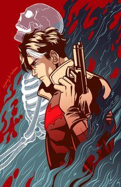 Jason Todd, Red Hood - http://inkydandy.tumblr.com/post/161043696108/red-hood-aka-jason-todd-batmans-second-partner