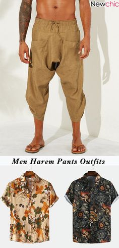 Men Harem Pants Outfits & Dress Outfits for Harem Pants Outfit, Harem Pants Men, Golf Fashion, Fashion Pants, Mens Fashion, Leopard Print Outfits, Pant Shirt, Short Outfits, Shirts