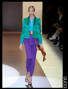 Try wearing three jewel tones at once for a sophisticated look. #spring #style