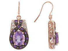 Stratify (Tm) 8.56ctw Brazilian And African Amethyst With White Topaz 18k Rg Over Sterling Earrings