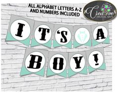 Baby shower Little Man BANNER gentleman all letters decoration printable mint green gray color theme, digital file, instant download - lm001 #babyshowerparty #babyshowerinvites