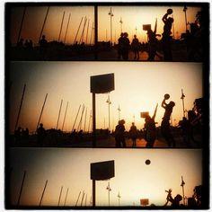 Hoop Dreams  a golden sunset on Brighton beach  by matthewbull