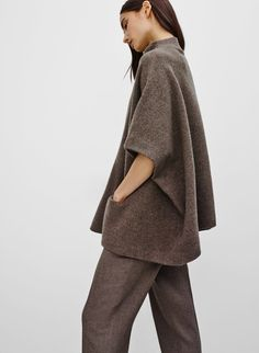 Made with plush merino wool, this cape sweater has a felted feel that's just right for chilly days. Merino Wool, Normcore, Couture, Capes, Sweaters, How To Wear, Style, Fashion, Haute Couture