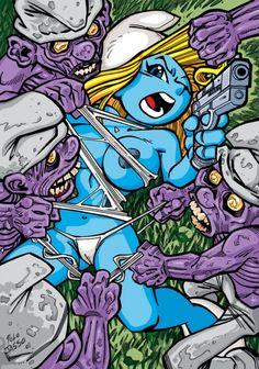 cartoon, illustration, smurf, smurfette, smurfs, zombie, zombies