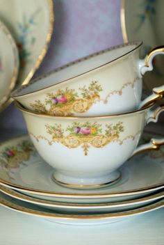 Vintage Noritake Cups and Saucers