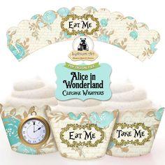 Alice in Wonderland Cupcake Wrappers - Printable Cupcake Wrappers - Alice in Wonderland Party - Instant Download _ Alice Decorations de LythiumArt en Etsy