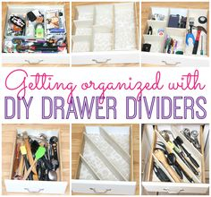 Make your own custom drawer dividers to perfectly fit, no matter what the size. Endless possibilities for configurations! DIY drawer dividers via Happy Go Lucky