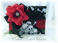 Skulls and Roses Halloween Wedding Guest Book by CreativeBridal