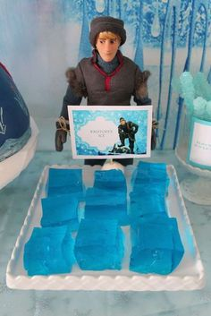 Kristoff's jello ice blocks at a Frozen birthday party! See more party planning ideas at CatchMyParty.com!