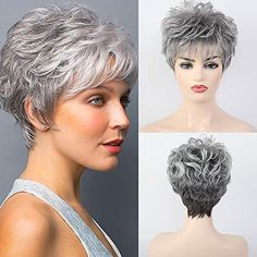 Short Curly Pixie, Pixie Cut Wig, Short Wigs, Curly Pixie Haircuts, Pixie Cuts, Short Grey Haircuts, Short Hairstyles Over 50, Wig Hairstyles, Short Hair Over 50