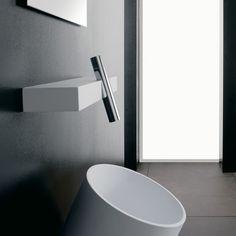 Mitigeur lavabo sur tablette murale Blok, chromé - Treemme - Sdebain.com