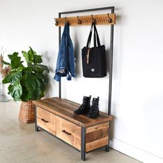 Industrial Entryway Storage Hall Tree love the look, hate the price Entryway Hall Tree, Entryway Storage, Entryway Furniture, Hall Bench With Storage, Hall Tree Bench, Office Furniture, Warm Industrial, Industrial Hall Trees, Hall Stand