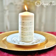 DIY Christmas Sheet Music Image Transfer on Candles - tutorial and free printables from KnickofTime.net