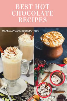 I have gathered the best hot chocolate recipes! Make sure you check them out! Easy Desserts, Delicious Desserts, Dessert Recipes, Yummy Food, Drink Recipes, Best Hot Chocolate Recipes, Crockpot Recipes, Cooking Recipes, Kitchen Recipes