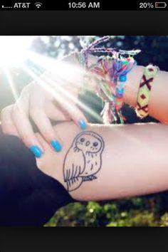 Owl tattoo arm girly cute