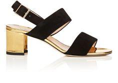 MANOLO BLAHNIK Khan Suede & Leather Sandals. #manoloblahnik #shoes #sandals