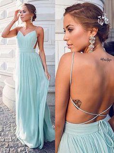 Spaghetti Strap Mint V Neck Long Chiffon Maxi Dress,Backless Lace Up Evening Dress,A Line Evening Dress