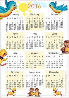 FREE printable 2016 calendar for kids | #nursery
