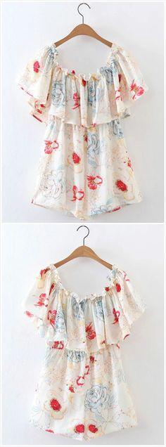 Vintage Floral Embroidery Slash Neck Dress