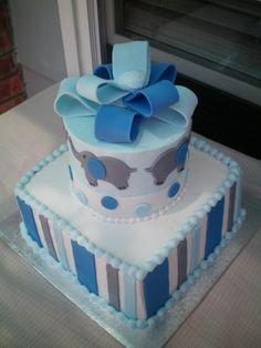 Elephant Baby Shower Cake | elephant baby shower cake www.allaboutrachelacakes.com