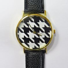 Black and White Houndstooth Watch , Vintage Style Leather Watch, Women Watches, Unisex Watch, Boyfriend Watch