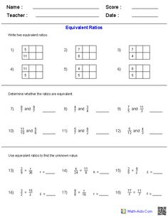 6th Grade Math Ratios Worksheets