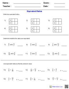 Equivalent Ratios Worksheets