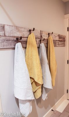 Year of Change {July Reveal reclaimed wood and galvanized hooks for towels // suburban bitches. Year of Change Challenge {July}reclaimed wood and galvanized hooks for towels // suburban bitches. Year of Change Challenge {July} Laundry In Bathroom, Bathroom Renos, Bathroom Towels, Small Bathroom, Bathroom Ideas, Bathroom Storage, Bathroom Makeovers, Hooks In Bathroom, Towel Racks For Bathroom