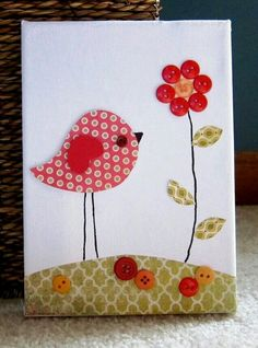 Items similar to Children's Room Canvas Art, Nursery decor, 5 x bird and flower, red and orange and olive, cute as a button on Etsy Nursery Canvas Art, Nursery Decor, Button Canvas, Fabric Cards, Bird Cards, Applique Patterns, Handmade Birthday Cards, Button Crafts, Flower Cards