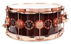 DW Neil Peart's 'Time Machine' Snare - Custom steampunk lacquer finish featuring copper leaf-applied graphics and hand airbrush work, gear-shaped lug gaskets with custom Copper Hardware