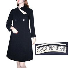 1960s navy wool coat dress with ivory satin accent - Courtesy of bigchief173